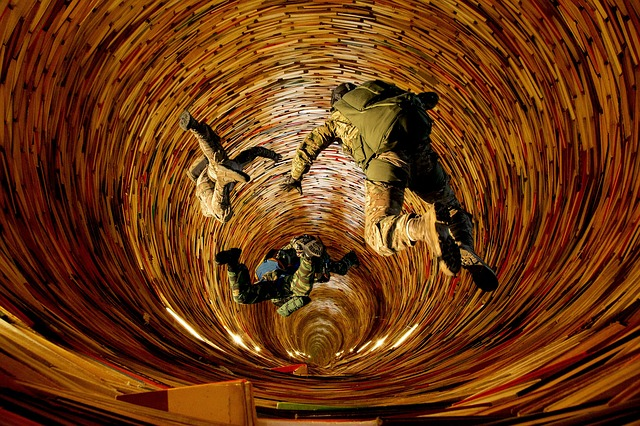 army personnel falling into a vortex