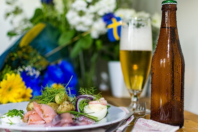 Dinner with beer