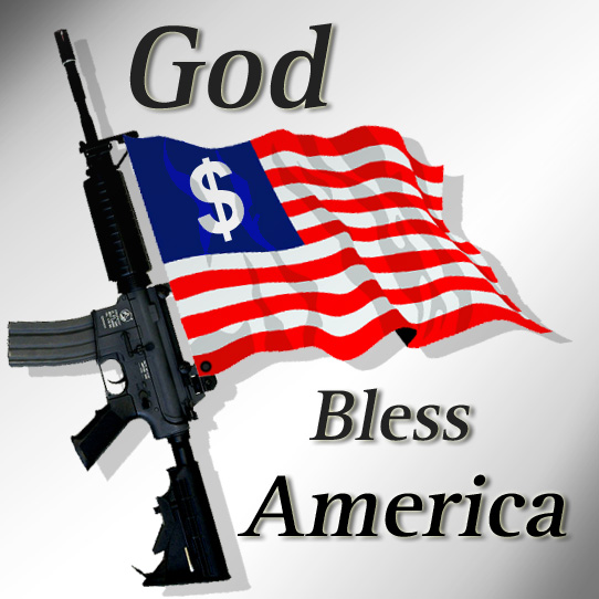 United States Flag with guns