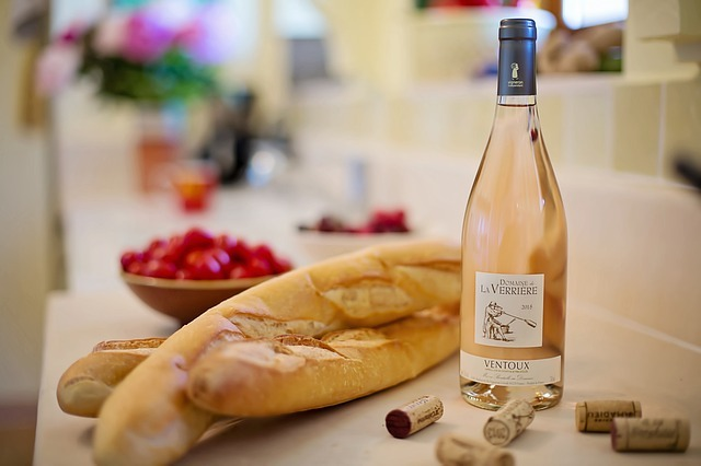 bottle of wine with French bread