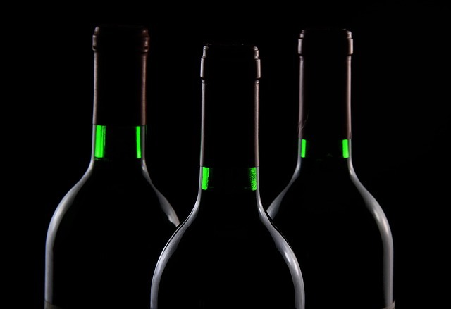 wine bottles in shadow