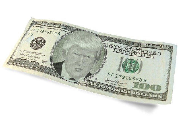 $100. dollar bill with Trump on it