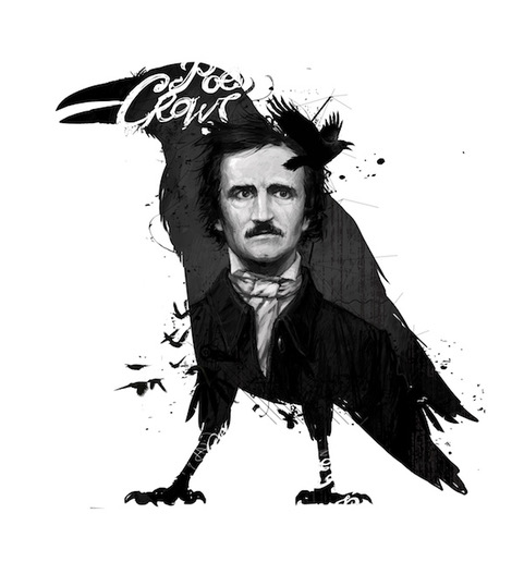 Edgar Allen Poe with raven