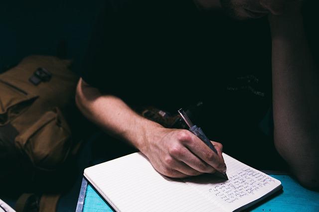 a man journaling